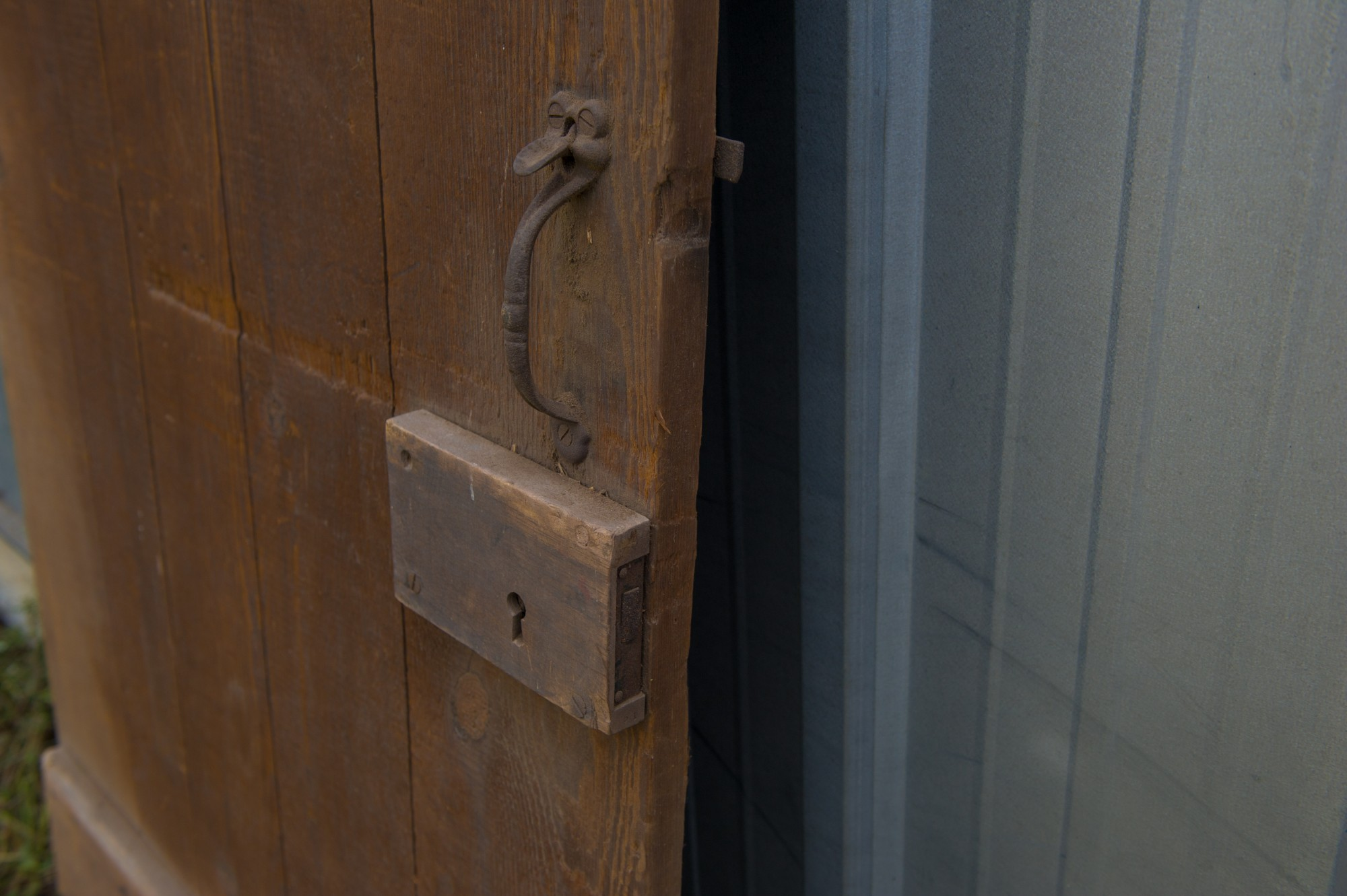 Pine Barn Door With Cast Iron Latch And Wooden Lock Box 1923 Pa Plate Patch