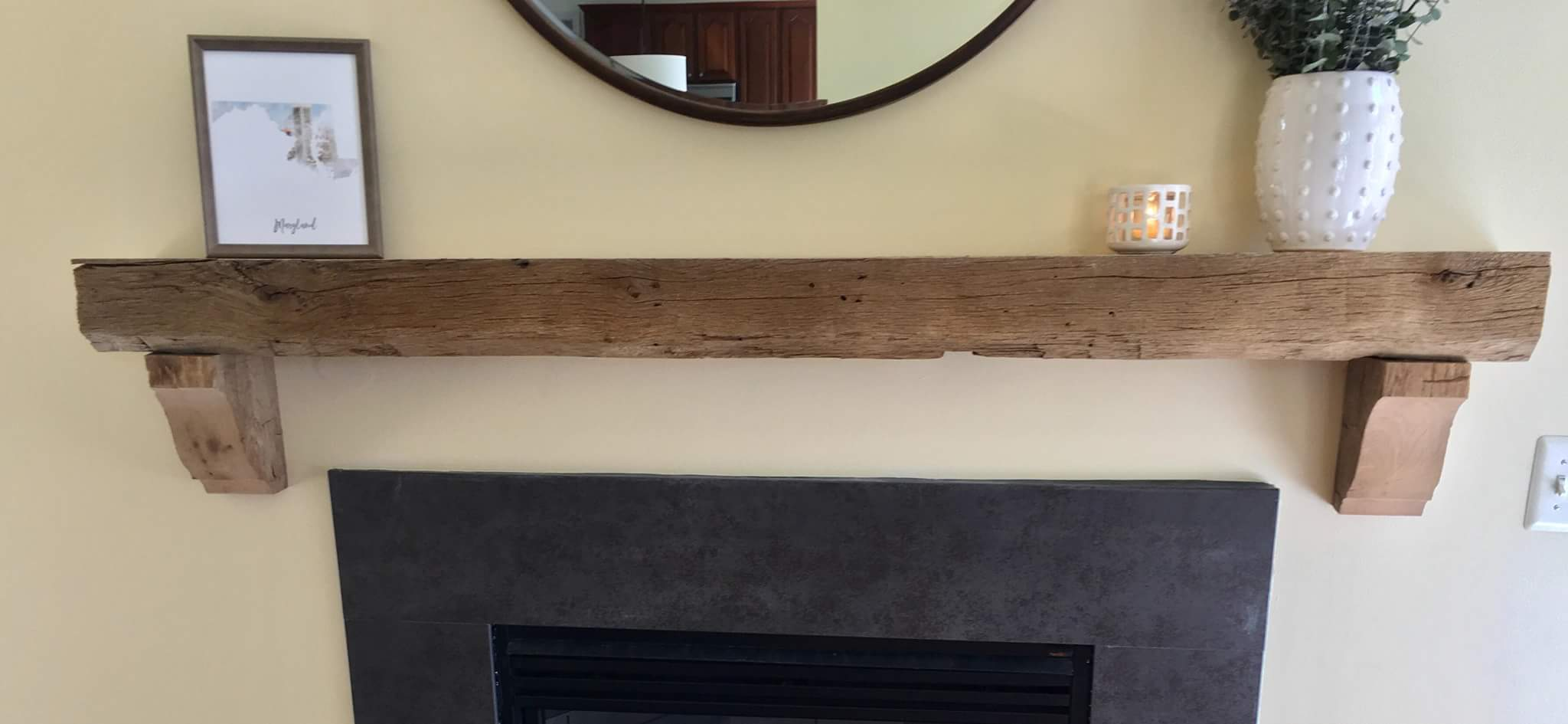 Hand Hewn Oak Mantel with Corbels