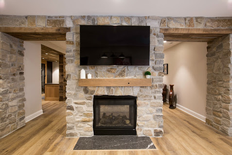 Whiskey Springs Oak Paneling and Rough Sawn Beams/Mantel